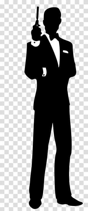 silhouette of man wearing suit, James Bond Film Series Silhouette , james bond PNG clipart