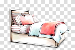 white bed frame and mattress , Interior Design Services Drawing Furniture Sketch, Hand-painted bed PNG