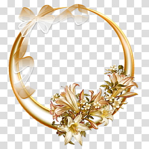 pink lily flower wreath illustration, frame, Gold Box PNG clipart