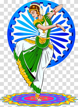 dancing woman wearing white and green dress illustration, Indian Independence Day Delhi Republic Day parade January 26, dancing Indian woman PNG clipart