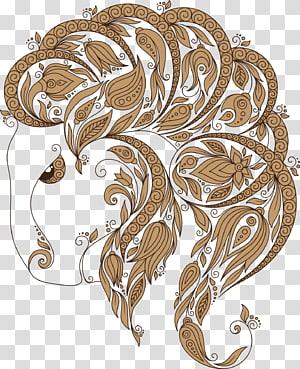 brown and white floral illustration, Zodiac Constellation Capricornus Euclidean , Aries PNG