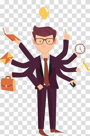 Job Business Employment Entrepreneurship, Busy cartoon business people, illustration of man wearing burgundy suit with many hands PNG