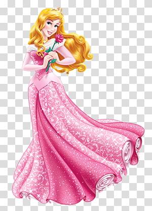 woman wearing pink and white dress art illustration, Princess Aurora Cinderella Belle Ariel Rapunzel, princess PNG clipart