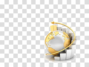 gold globe with graph , Bar chart 3D computer graphics Pie chart, Business summary ppt template PNG