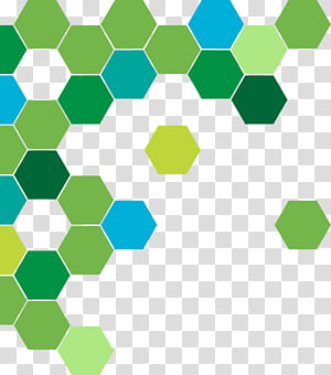 Green abstract geometric circle, green and blue honeycomb pattern PNG clipart