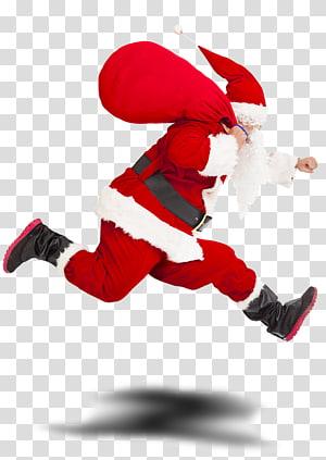 Santa Claus Gift Christmas Running, santa claus PNG clipart