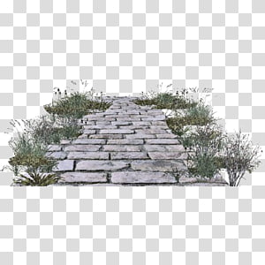 gray running bond pavement surrounded by grass, Gravel road , Stone Road PNG clipart