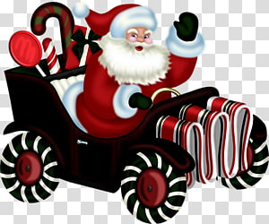 cartoon santa claus driving a car PNG clipart