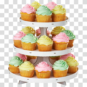 3-tier of cupcakes illustration, Cupcakes & Muffins Cake decorating, cupcake stand PNG