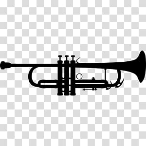 Trumpet Silhouette Musical Instruments , trumpet and saxophone PNG