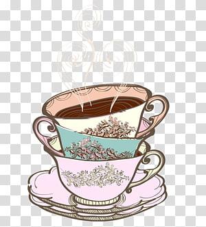 Teacup Drawing Cream tea Tea party, Tea House PNG