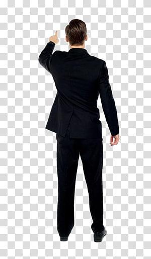 man wearing black suit while pointing his finger, Man, Black man back PNG