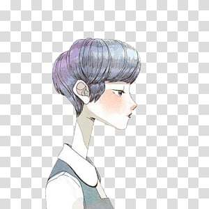 Drawing Art Illustration, Hand drawn illustration girl with short hair PNG clipart