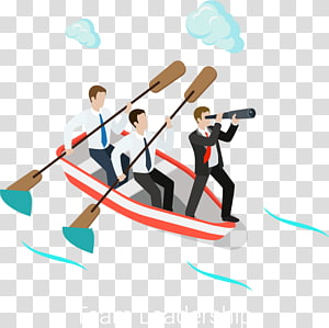 team leadership illustration, Rowed business people PNG