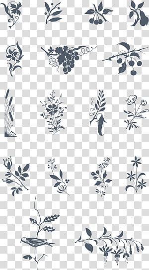 Twig Petal White , vintage ornament PNG