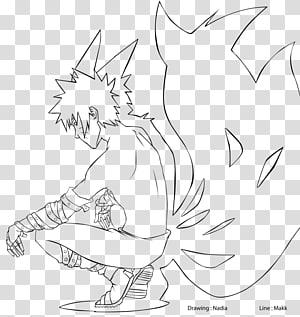 Line art Kurama Drawing Manga Naruto, manga PNG