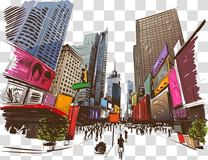 Illustration, cartoon illustration city PNG clipart