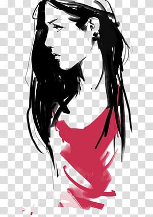 woman wearing dress top illustration, Marker pen Cartoon Illustration, Mark pen girl PNG clipart