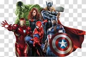 Marvel Avengers illustration, Captain America Spider-Man Marvel Studios Carol Danvers Hulk, Avengers background PNG
