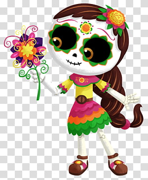 brown-haired woman illustration, La Calavera Catrina Mexico Day of the Dead Death, Halloween PNG clipart