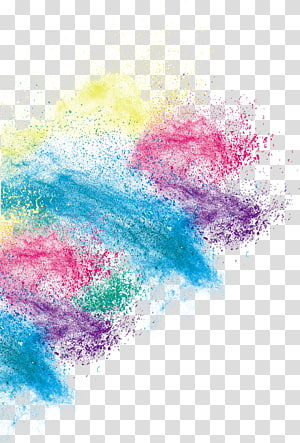 Inkjet printing, Creative color art dust effect, blue, red, and yellow abstract painting PNG