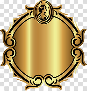 oval brown filigree frame illustration, Frames, Gold pattern decorative circular frame PNG clipart