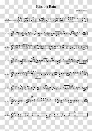 Kiss the Rain Sheet Music Saxophone Flute, sheet music PNG clipart