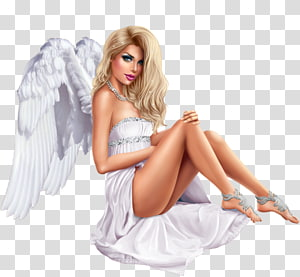woman wearing white strapless dress with wings illustration, Woman witch, woman PNG