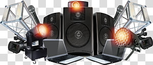 black-and-grey multimedia speakers with disco light illustration, Stage lighting Sound Stage lighting Computer speakers, light PNG clipart