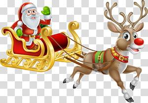 santa and elk sleigh PNG clipart