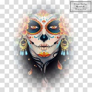 woman with face paint, La Calavera Catrina Day of the Dead Artist, skull PNG