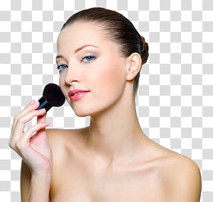 woman putting blush on on her face, Cosmetics Model Make-up artist Makeup brush Woman, Makeup Model PNG