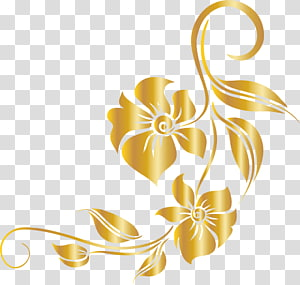 luxury golden flower PNG clipart