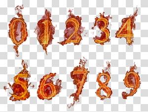 flamed numbers artwork, Flame Number Em Numerical digit, Flame figures PNG