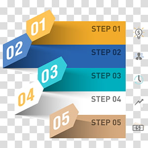 step 5 illustration, Infographic Business process , PPT element PNG clipart