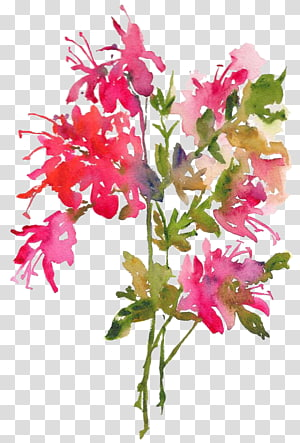 pink petaled flowers with green leaf, Watercolour Flowers Watercolor painting Art, leaf PNG clipart