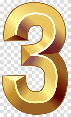 gold 3 text, Number Numerical digit , Gold Number Three PNG clipart
