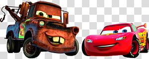two Disney Pixar Cars character illustrations, Lightning McQueen Mater Flo Cars , Cars PNG