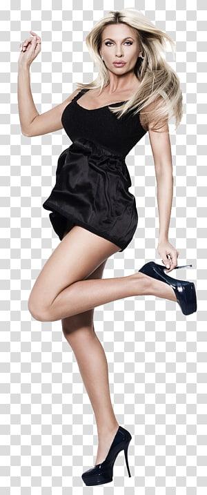 woman wearing black sleeveless dress holding her sandal, Kostroma Model, model PNG
