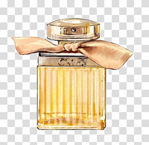 yellow fragrance bottle, Chanel No. 5 Watercolor painting Perfume Illustration, perfume PNG clipart