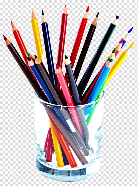 pencil colors in clear glass jar, Colored pencil, Color Pencils PNG clipart