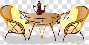 Coffee Tea Cafe Euclidean , Hand-painted coffee table PNG