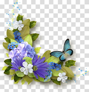 purple and white flowers, Butterfly Blue Purple , Rattan grass PNG clipart