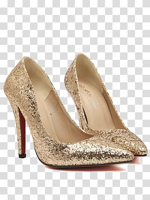 High-heeled footwear Court shoe Christmas, Gold splash PNG clipart