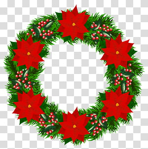 red and green holly plant wreath illustration, Christmas tree Santa Claus Wreath Poinsettia, Christmas Wreath with Poinsettia PNG clipart