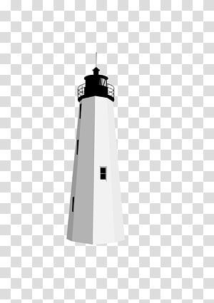 white and black lighthouse illustration, Black White Lighthouse PNG