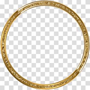 gold-colored ring illustration, frame , Round Border Frame Gold PNG clipart