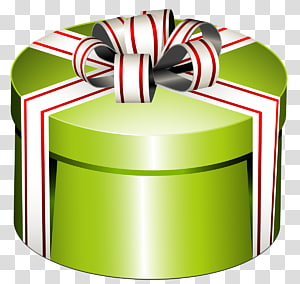 green and white gift box, Gift Box , Green Round Present Box with Bow PNG clipart