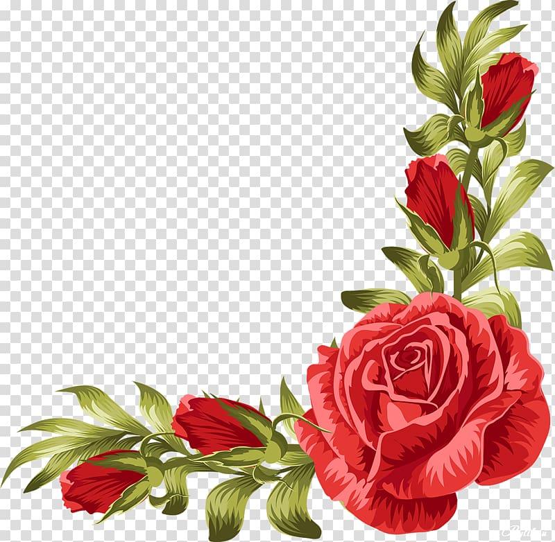 red rose flower frame illustration, Wedding invitation Rose Flower Leaf, rose border PNG clipart