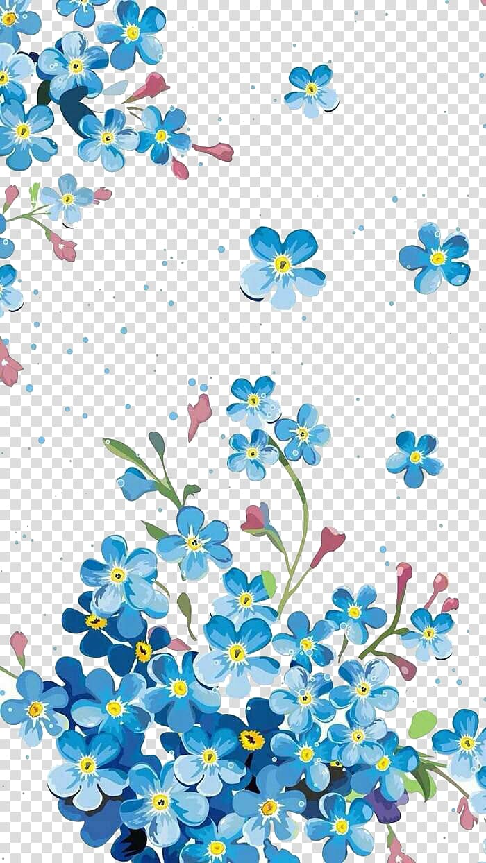blue flower illustration background material PNG